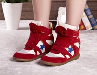 red blue star Velcro shoes women 2014 fashion  sneakers sapatilhas Mulheres platform women brand height increasing sneakers