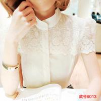 The summer of 2014 new women's dress code Korean backing chiffon shirt temperament slim lace dress shirt blouse