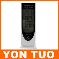 Large Digital LCD Temperature Thermometer Humidity Meter Clock Household Alarm Clock Luminous Free Shipping