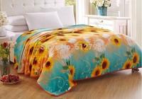 Free shipping  sunflower printing summer warm fleece blanket  throw bedspread quilts sofa manta  230*200 cm