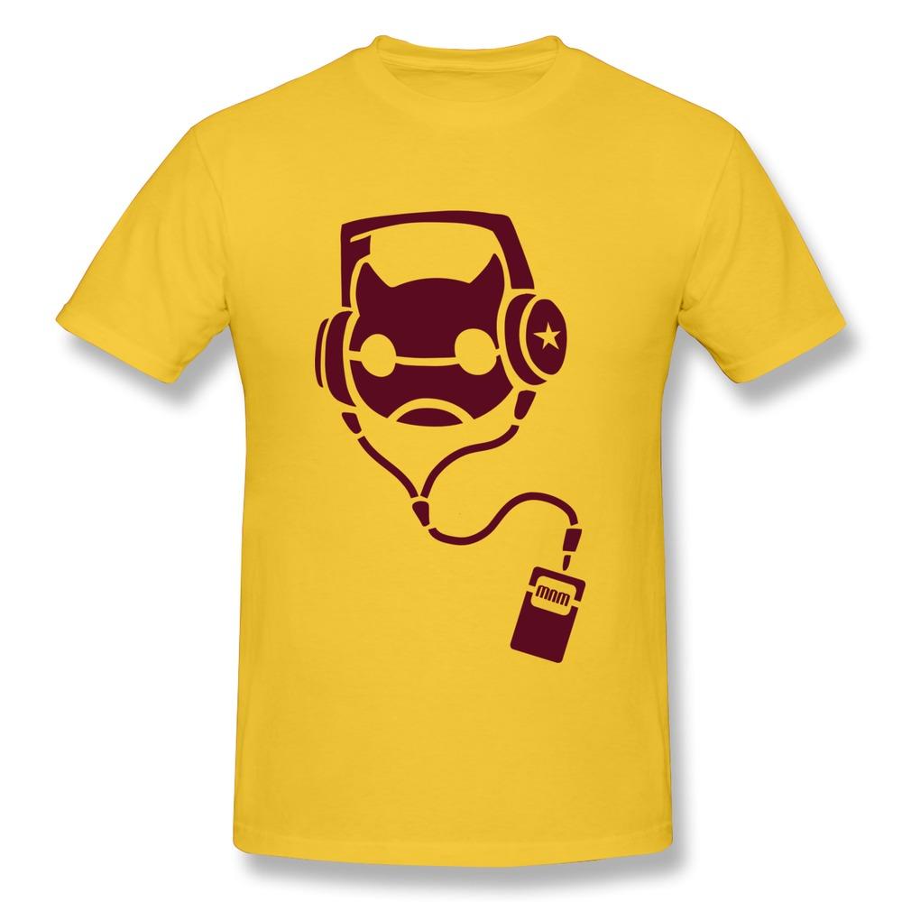 Print 100% Cotton T Shirt Mens Music Listening MP3 Cat with headphones Fun Spring Men's T-Shirts Short-Sleeve(China (Mainland))