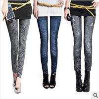 2014 butt-lifting slim ankle length legging faux denim elastic legging