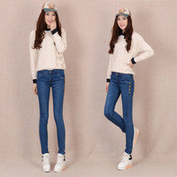 Spring personalized pencil mid waist jeans slim women's jeans long trousers