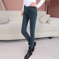 Spring 2014 women's 100% cotton pencil denim long trousers elastic slim jeans pants