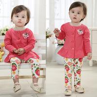 New 2014 Autumn Long Sleeve Shirt+ Floral Pant  Velour Baby Clothing Sets roupas de bebe Free shipping