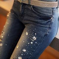2014 women's pencil fashion diamond hole jeans skinny pants