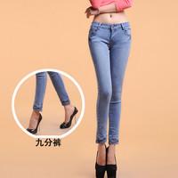 2014 spring and autumn jeans women's pencil pants denim ankle length trousers female trousers 100% cotton elastic