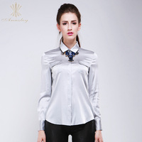 Annzley Real Silk Long Sleeves Classic Blouses And Shirts For Women New Arrival 2014