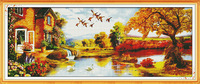 Big Size Golden Scenery(3) Counted Cross Stitch Unfinished Cross Stitch DIY Dimension Cross Stitch Kit for Embroidery Needlework