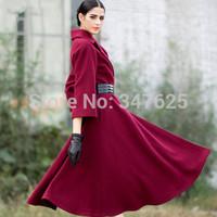 women's winter woollen coat women slim x-long wool female coats jackets new 2014 turn-down collar long sleeve coats free by EMS