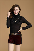 Autumn and winter women's clothing han edition new big yards lace blouse rabbit hair warm velvet upset female clothes