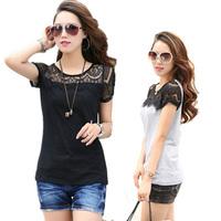 2014 New T Shirt For Women Fashion Cotton Tops Lace Patchwork Short Sleeve T-shirt Casual Shirt M/L/XL/XX/XXXL GLW-TX-1009