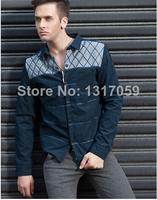 2014 high quality mens turn down collar long sleeve shirt male cardigan jacket lapel stitching shirts free shipping