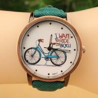 Free Shipping Women Watches 2014 New Fashion Cute Cartoon Bike Geniune Leather Dress Watches Women Quartz Casual Wristwatch Blue