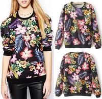 Spring Autumn Women's Bloom Floral Leaf Print Crew neck Long sleeve Pullover Jumper Hoodies Sweats Sweatshirts Tops Black