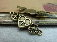 60pcs 7*41mm bronze Peace Symbol connector antique charm bracelet necklace pendants diy decorations cabochon jewelry accessories