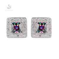 Wholesale Romantic CZ  Rainbow Mystic Cubic Zirconia  fashion Beautiful  S 925 sterling Silver Earrings S--3751