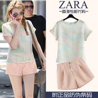 2014 summer fashion o-neck short-sleeve fluid ink print t-shirt shorts set female