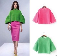2014 New Fashion Fall And Winter European And American Style Special Lantern Sleeve Sweater Coat Women Light Green/Rose MJZ10