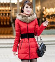 New 2014 jacket winter coat women thicken Slim female raccoon fur hooded long coat parka winter coat plus size L-XXXL