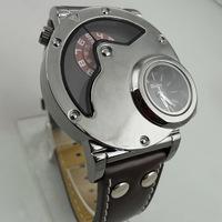 Sports Watch for Men Navigator shape Quartz watches Luxury brand Casual watch Leather wristwatch OULM watch