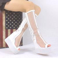 [Free shipping] 2014 New arrival fashion female transparent gauze tassel high-leg boots platform wedges elevator sandals boots