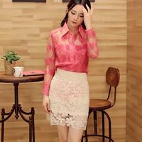 Free shipping! 2014 autumn fashion gentlewomen small lapel rhinestones embroidered organza shirt! F092815