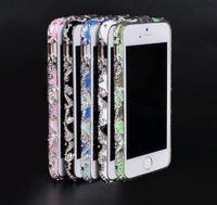Free shipping MOQ:1PCS Luxury Bling Rhinestone Cloisonne Style Metal Aluminum Bumper Frame for Apple iPhone 5 5S 5G