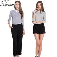 European Cotton Tee Shirt Women Peter Pan Collar Slim Stripe Blouses Summer Ladies Stripe T-shirt Top Blusas