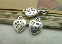 100pcs 10*13mm silver heart dog feetprint qntique charms bracelet necklace pendants diy decoration cabochon jewelry accessories