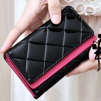 2014 New hot wholesale PU leather hasp three folds women wallets contrast color fashion women handbag Free shipping