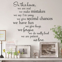 Free shipping newly removable English proverb wall stickers House Rules-wall paper(55.8cm*55.8cm)