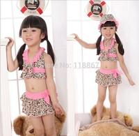 Children swimwear BEACH BABY girl swimwear three sets of swimsuit bikini zebra print suit leopard split top quality 5sets