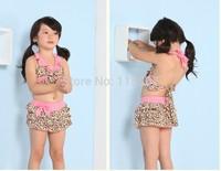 Children swimwear BEACH BABY girl swimwear swimsuit bikini zebra print suit leopard split 5pcs