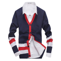 a3ag 2014 new arrival Autumn winter men's cotton V-neck sweaters Slim  men brand Jacquard cardigan contrast color
