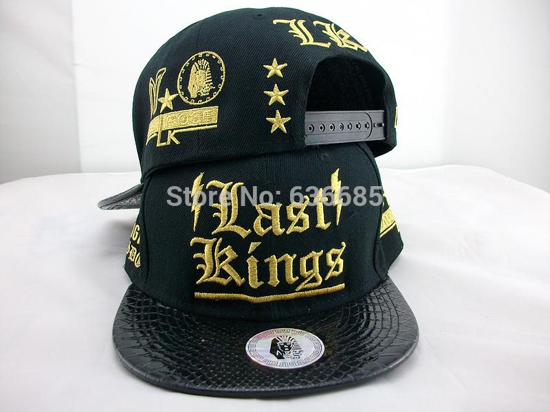 Wholesale Brand last kings snapback caps,hip hop leather leopard flower gorras baseball hats ,black gold letter bone snap back(China (Mainland))
