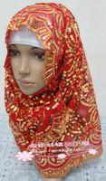 Red Long Scarf Paillette Muslim Hijab Hat 165cm x 60cm India Dance Show Veil Wedding Accessory Cap Shawl Wrap
