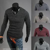 3ag 2014 new arrival men slim long-sleeved V-neck pullover sweater pop Men collarless pring and summer autumn wool knittedwear