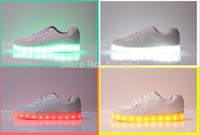2014 men women NHB light shoes LED USB light shoes genuine leather shoes leasure sport shoes 36-44