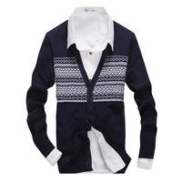 C3ag 2015 new arrival men's sweaters men winter sweater stripe contrast fashion Slim black white contrast v neck cotton 3 colors