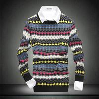 4ag 2014 new arrival Men's round neck sweaters men winter sweater wind pullover men stripe o neck