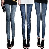 14 Choice Fashion Jeans Leggings For Women Skinny Pencil Denim Pants Hole Pleated Prints Nine Leggings