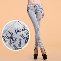 2014 women's pencil denim trousers women's elastic embroidered slim skinny pants jeans female