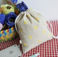 Handmade Yellow daisy storage tote drawstring bags  GIFT bag Three  models available