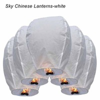 10pc White Sky Fire Chinese Lanterns Flying Paper Wish Balloon for Wedding Festival Christmas Party