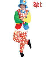 new style adult clown suit costume Mens clothes plaid pants Fancy Dress with hat Circus party ball Funny Pattern And Show Joker