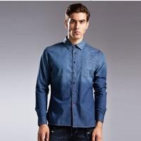 Men's Top Quality Denim Shirt European Fashion Plus Size Autumn & Winter 2014 100% Cotton Blue Blusa Camisa Jeans de Masculino