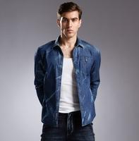 Men's Top Quality Denim Shirt European Fashion Plus Size Autumn & Winter 2014 100% Zipper Up Pocket Blusa Camisa Jeans Masculino