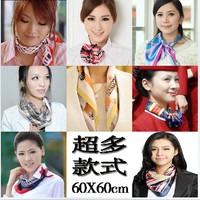 Middle Square Scarf 60cm x 60cm Polyester Scarf Striped Dot Plaid Leopard Print Women Dress Collar Flower Headband Handbag Dec