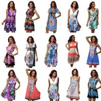 Factory direct 21 models Summer 2014 Sexy Retro beach dress  women's Fashion  flower print sundress plus size XXL